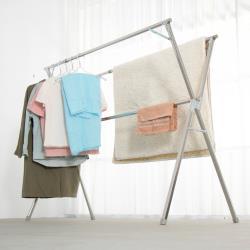 IDEA  改版2.4米不銹鋼X型複合式落地曬衣架(贈晾曬衣夾/防風扣一袋)