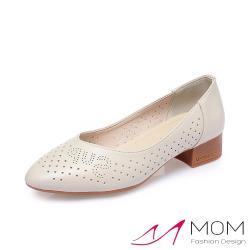 【MOM】真皮細緻牛皮透氣縷空沖孔尖頭V口粗跟鞋 米