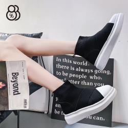 【88%】4.5CM休閒鞋 繃帶運動風 筒高11CM厚底 彈力布百搭短靴 襪鞋 襪靴 黑色