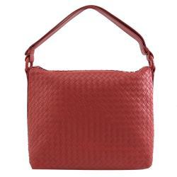 BOTTEGA VENETA 369618 編織小羊皮肩斜背包.中國紅