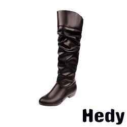 【Hedy】歐美純色時尚百搭粗跟長靴 棕