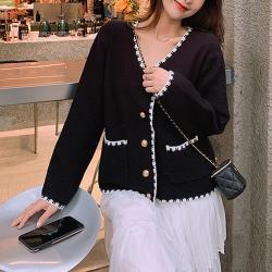 【GF 快時尚】簡約V領撞色口袋造型外套 (F)