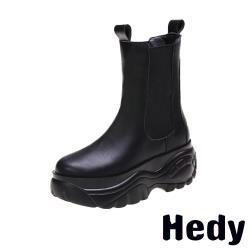 【Hedy】潮流百搭復古厚底切爾西短靴 黑