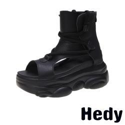 【Hedy】百搭厚底復古羅馬綁帶造型涼鞋 黑