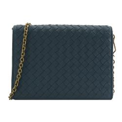 BOTTEGA VENETA 508752 編織小羊皮復古鍊包.藍綠
