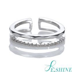 E SHINE經典小鑽點戒指(銀/金)-可調式