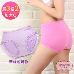 AMANDA艾曼達 加大內褲 蕾絲舒柔純蠶絲褲底Q(買3送2-A80)