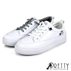 Pretty 素面彈性鬆緊帶平底休閒鞋/小白鞋BA-2A836