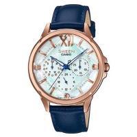 【CASIO】SHEEN 冷冽施華洛世奇真皮腕錶-玫瑰金X藍錶帶(SHE-3056PGL-7B)
