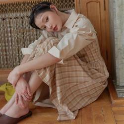 連身裙 氣質格紋收腰平口洋裝PV9140-創翊韓都
