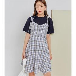 連身裙 質感收腰格紋細肩帶洋裝JM10420-創翊韓都