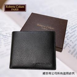 (Roberta Colum)諾貝達 男用皮夾 短夾 專櫃皮夾 進口軟牛皮短夾(黑色-24001)