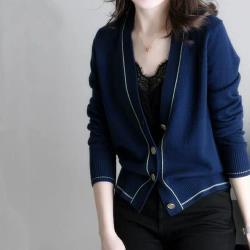 【LANNI 藍尼】現貨 寬鬆V領小香風長袖開衫外套(針織衫/外套)