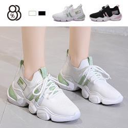 【88%】4CM休閒鞋 時尚百搭飛織透氣 厚底綁帶運動休閒鞋 老爹鞋