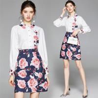 M2M-氣質玫瑰印花白襯衫A字裙通勤套裝M-2XL