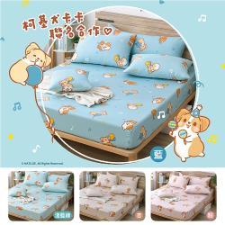 柯基犬卡卡  精梳棉單人床包枕套二件組-歡樂派對(四款任選)