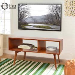 E-home Hawthorne霍森二空全實木多媒體收納電視櫃-兩色可選