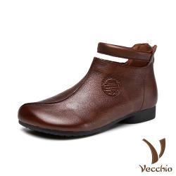 【Vecchio】真皮頭層牛皮舒適寬楦設計感軟底低跟短靴 棕