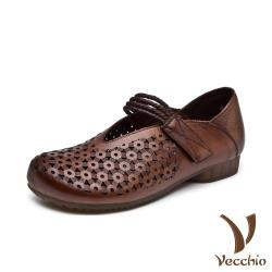 【Vecchio】真皮頭層牛皮復古幾何縷空魔鬼粘V口造型低跟娃娃鞋 棕