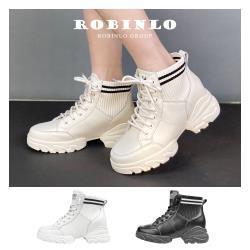 Robinlo 帥氣焦點異材拼接牛皮內增高中筒靴 NIXON-黑/白