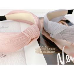 【卡樂熊】韓版細緻蕾絲百摺造型寬版髮箍-二色