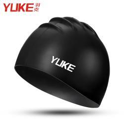 Yuke 輕薄磨砂內裏防滑成人兒童泳帽 黑
