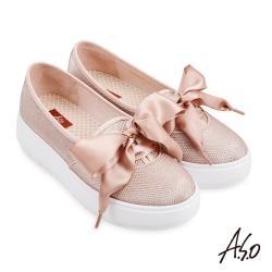 A.S.O-時尚流行-Q彈舒壓質感金蔥布料蝴蝶結休閒鞋-卡其