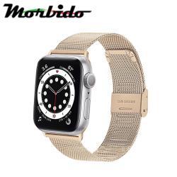Morbido蒙彼多Apple Watch 6/SE 44mm不鏽鋼編織卡扣式錶帶 復古金