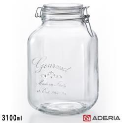 ADERIA 日本進口抗菌密封寬口方形玻璃沙拉罐3100ML