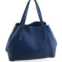 BOTTEGA VENETA 藍色編織皮革肩背CABAT托特包((展示品)