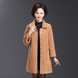 【艾洛妃】純色簡約短毛絨翻領修身長版保暖大衣 (4色任選)