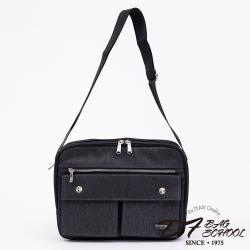 DF BAG SCHOOL - 台灣製造型男絲紋面料雙口袋雙層斜背包