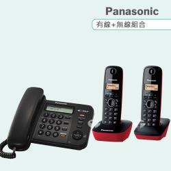Panasonic 松下國際牌數位子母機電話組合 KX-TS580+KX-TG1612 (經典黑+發財紅)