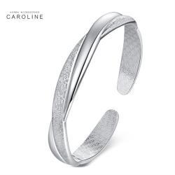《Caroline》925鍍銀手環.交織磨砂亮面設計優雅流行時尚手環72438