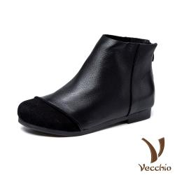 【Vecchio】真皮頭層牛皮異材質拼接純色素面低跟短靴 黑
