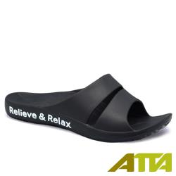 【ATTA】足底均壓★足弓簡約雙帶拖鞋-黑色
