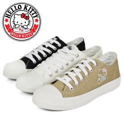 HELLO KITTY 可愛刺繡凱蒂貓綁帶造型平底休閒帆布鞋/小白鞋N-2A136