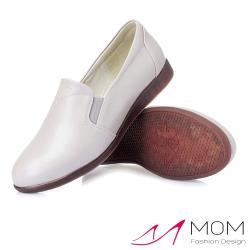 【MOM】真皮細緻牛皮軟底舒適百搭休閒樂福鞋 灰