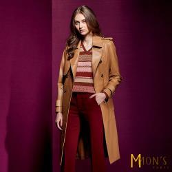 MONS 經典名牌款Nappa長版風衣羊皮外套