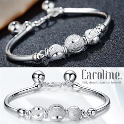 《Caroline》★【傾世綻放】925鍍純銀精雕月牙轉運珠手環.典雅設計優雅時尚品手環68445