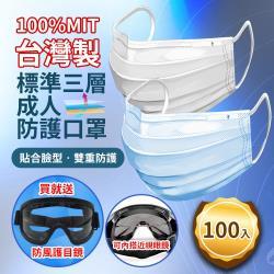 台灣製造MIT透氣版標準三層成人防護口罩-100入(贈防風護目鏡)