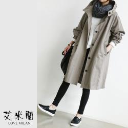 【艾米蘭】韓版連帽排扣縮口風衣外套 (F)