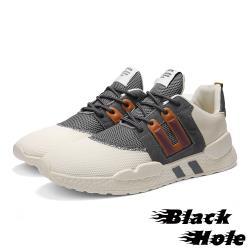 【Black Hole】真皮網布撞色拼接個性時尚休閒鞋 米