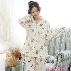Pink Lady 獅子派對 居家棉柔排釦長袖成套睡衣(米黃)90834