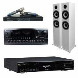 音圓 S-2001 N2-550 專業型卡拉OK點歌機 4TB+BT-889 PRO 擴大機+MR-865 無線麥克風+S-6601 主喇叭(白)