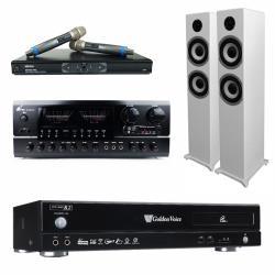 金嗓 CPX-900 R2電腦伴唱機 4TB+BT-889 PRO 擴大機+MR-865 無線麥克風+S-6601 主喇叭(白)