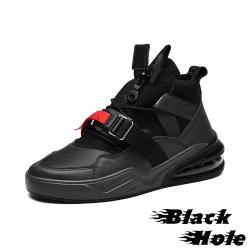 【Black Hole】彈力萊卡布拼接質感皮革織帶造型氣墊運動鞋 墨綠