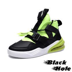 【Black Hole】彈力萊卡布拼接質感皮革織帶造型氣墊運動鞋 黑綠