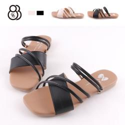【88%】1.5CM兩穿涼鞋 MIT台灣製 氣質百搭交叉 皮革平底方頭涼拖鞋