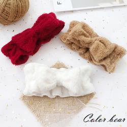 【卡樂熊】韓版毛絨蝶結造型洗臉髮帶(三色)